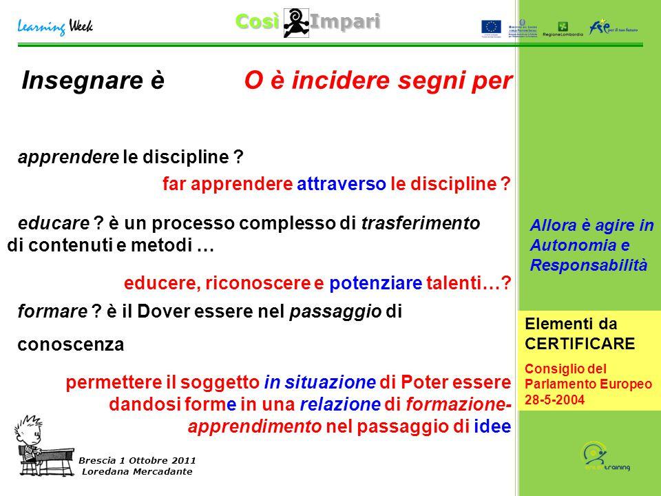 Così Impari Brescia 1 Ottobre 2011 Loredana Mercadante Insegnare è apprendere le discipline ? educare ? è un processo complesso di trasferimento di co