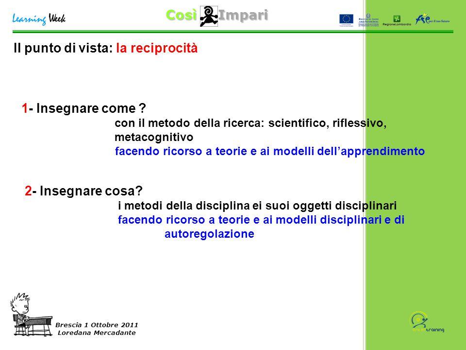 Così Impari Brescia 1 Ottobre 2011 Loredana Mercadante 1- Insegnare come ? con il metodo della ricerca: scientifico, riflessivo, metacognitivo facendo
