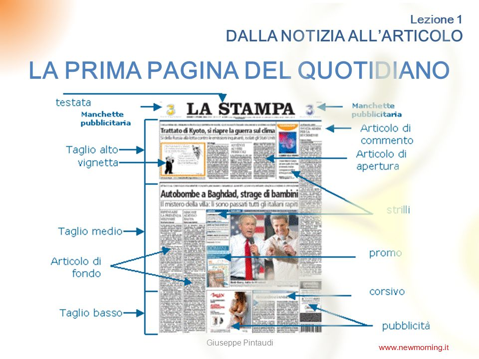 11 Lezione 1 DALLA NOTIZIA ALL'ARTICOLO LA PRIMA PAGINA DEL QUOTIDIANO Giuseppe Pintaudi www.newmorning.it