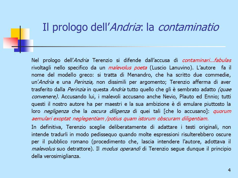4 Il prologo dell'Andria: la contaminatio Nel prologo dell'Andria Terenzio si difende dall'accusa di contaminari...fabulas rivoltagli nello specifico