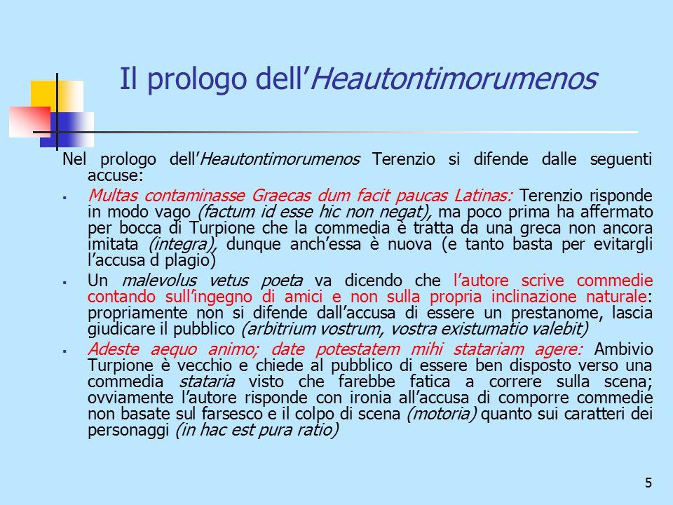 5 Il prologo dell'Heautontimorumenos Nel prologo dell'Heautontimorumenos Terenzio si difende dalle seguenti accuse:  Multas contaminasse Graecas dum