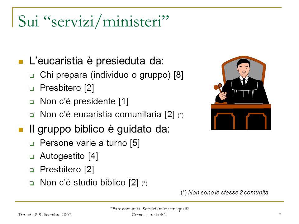 Tirrenia 8-9 dicembre 2007 Fare comunità.Servizi/ministeri: quali.