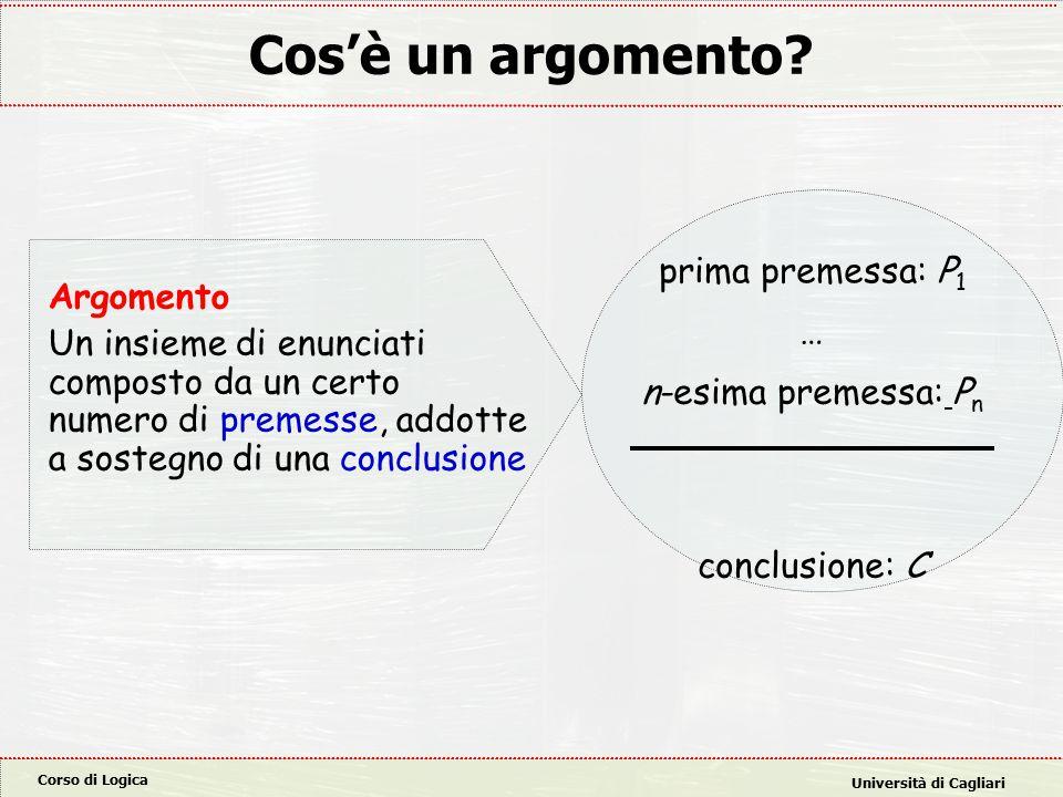 Corso di Logica Università di Cagliari Cos'è un argomento.