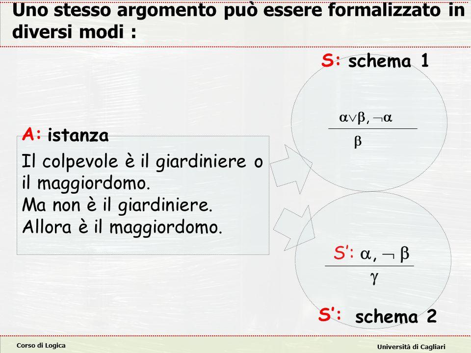 Corso di Logica Università di Cagliari S': ,   Uno stesso argomento può essere formalizzato in diversi modi : A: Il colpevole è il giardiniere o il maggiordomo.
