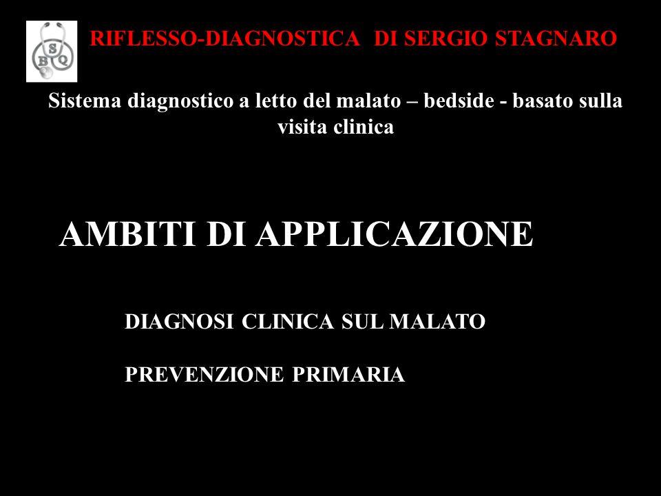 Sistema diagnostico a letto del malato – bedside - basato sulla visita clinica RIFLESSO-DIAGNOSTICA DI SERGIO STAGNARO AMBITI DI APPLICAZIONE DIAGNOSI