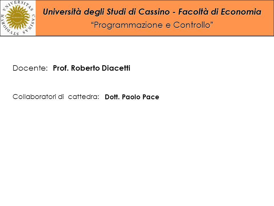 """Università degli Studi di Cassino - Facoltà di Economia """"Programmazione e Controllo"""" Collaboratori di cattedra: Dott. Paolo Pace Docente: Prof. Robert"""