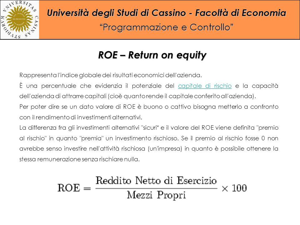 """Università degli Studi di Cassino - Facoltà di Economia """"Programmazione e Controllo"""" ROE – Return on equity Rappresenta l'indice globale dei risultati"""