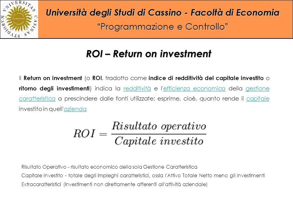 """Università degli Studi di Cassino - Facoltà di Economia """"Programmazione e Controllo"""" Il Return on investment (o ROI, tradotto come indice di redditivi"""