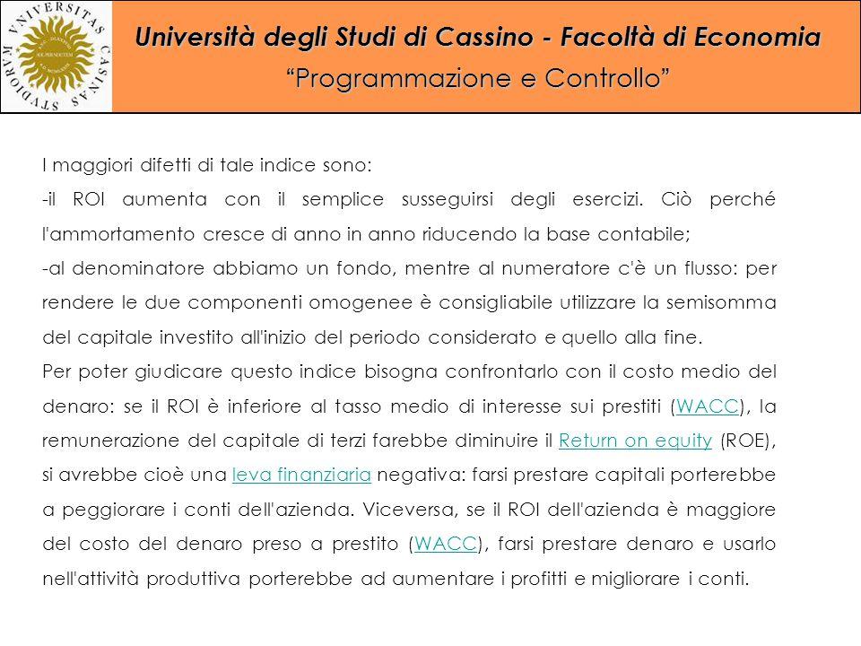 """Università degli Studi di Cassino - Facoltà di Economia """"Programmazione e Controllo"""" I maggiori difetti di tale indice sono: -il ROI aumenta con il se"""