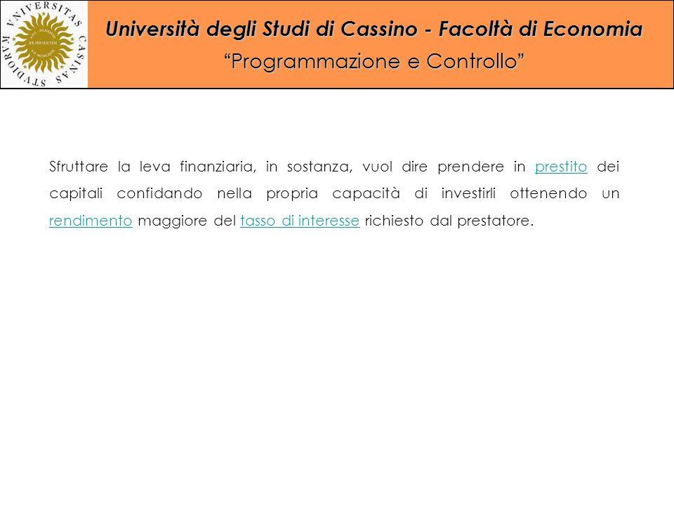 """Università degli Studi di Cassino - Facoltà di Economia """"Programmazione e Controllo"""" Sfruttare la leva finanziaria, in sostanza, vuol dire prendere in"""