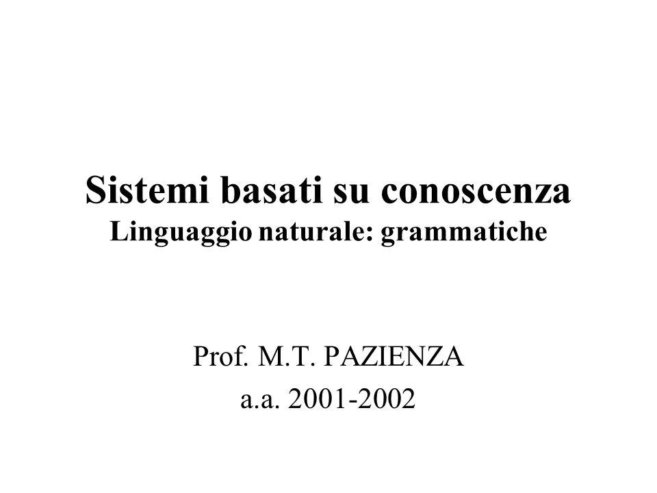 Sistemi basati su conoscenza Linguaggio naturale: grammatiche Prof. M.T. PAZIENZA a.a. 2001-2002