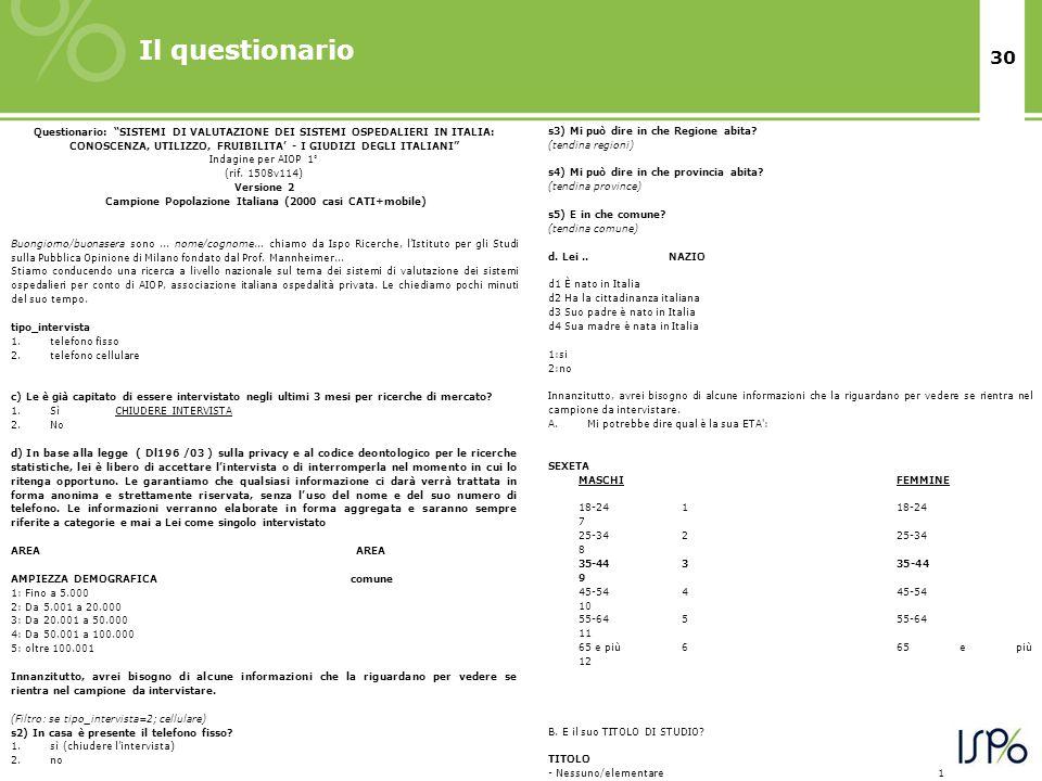 """30 Il questionario Questionario: """"SISTEMI DI VALUTAZIONE DEI SISTEMI OSPEDALIERI IN ITALIA: CONOSCENZA, UTILIZZO, FRUIBILITA' - I GIUDIZI DEGLI ITALIA"""