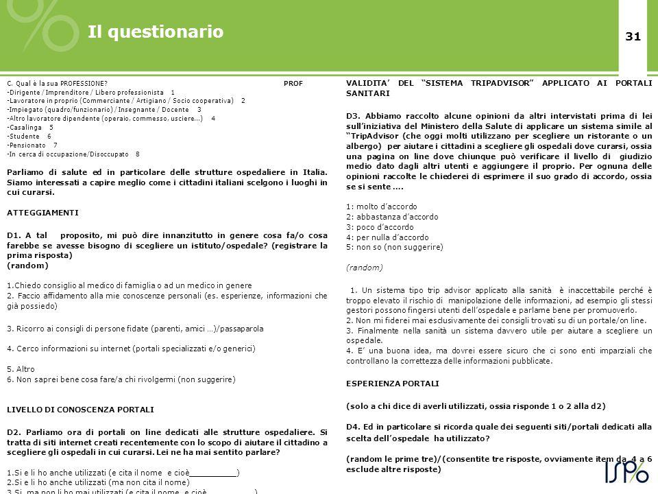 31 Il questionario C. Qual è la sua PROFESSIONE.