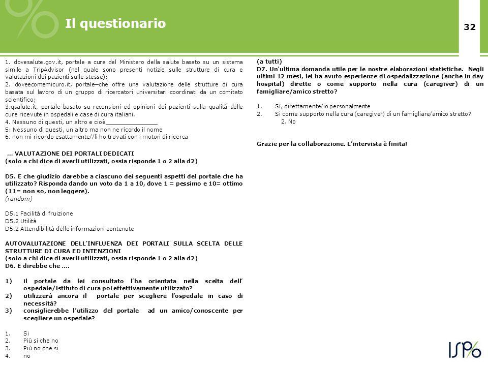 32 Il questionario 1. dovesalute.gov.it, portale a cura del Ministero della salute basato su un sistema simile a TripAdvisor (nel quale sono presenti