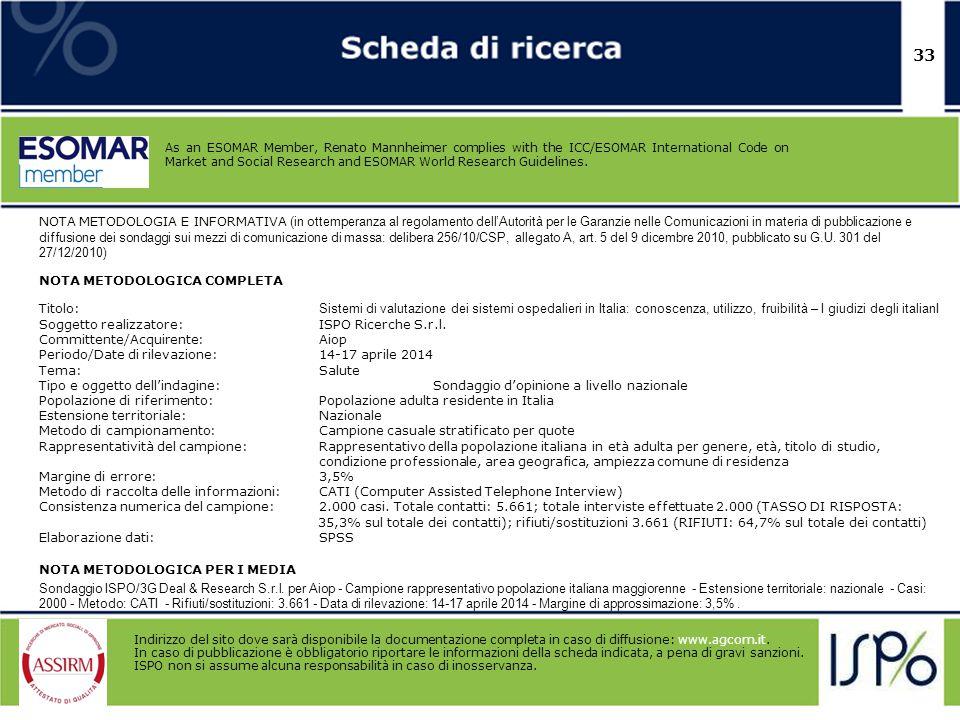 33 NOTA METODOLOGIA E INFORMATIVA (in ottemperanza al regolamento dell'Autorità per le Garanzie nelle Comunicazioni in materia di pubblicazione e diff