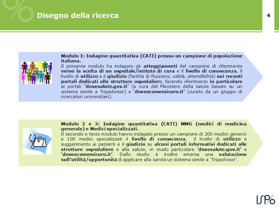 4 Disegno della ricerca Modulo 1: Indagine quantitativa (CATI) presso un campione di popolazione italiana. Il presente modulo ha indagato gli atteggia