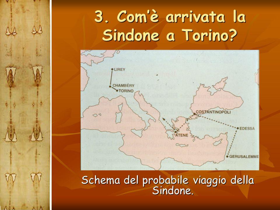 3. Com'è arrivata la Sindone a Torino? Schema del probabile viaggio della Sindone.