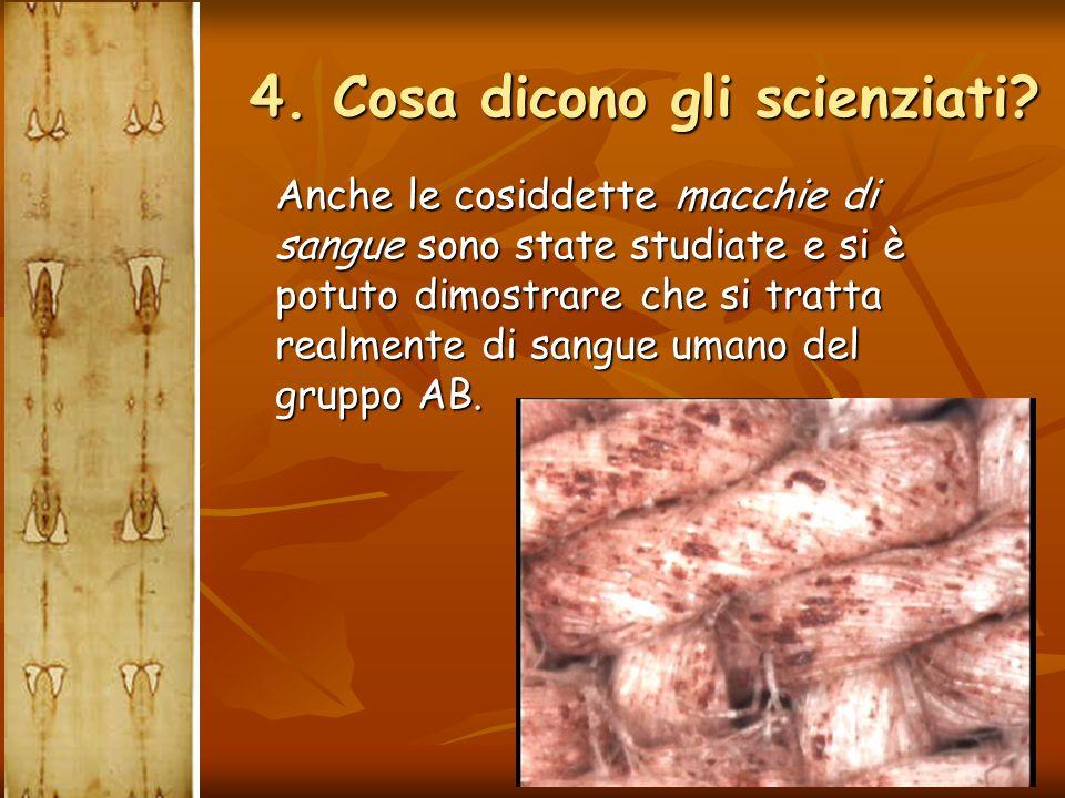Anche le cosiddette macchie di sangue sono state studiate e si è potuto dimostrare che si tratta realmente di sangue umano del gruppo AB. 4. Cosa dico