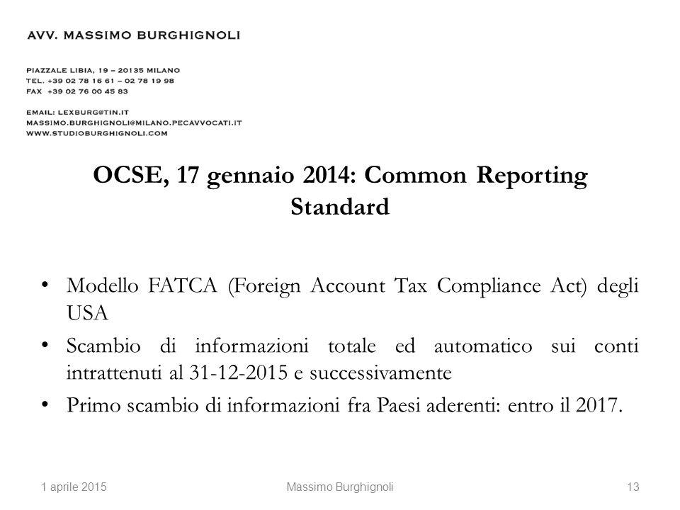 OCSE, 17 gennaio 2014: Common Reporting Standard Modello FATCA (Foreign Account Tax Compliance Act) degli USA Scambio di informazioni totale ed automatico sui conti intrattenuti al 31-12-2015 e successivamente Primo scambio di informazioni fra Paesi aderenti: entro il 2017.