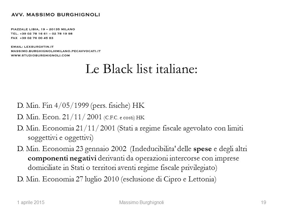 Le Black list italiane: D. Min. Fin 4/05/1999 (pers.