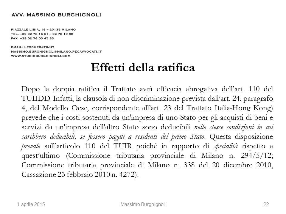 Effetti della ratifica Dopo la doppia ratifica il Trattato avrà efficacia abrogativa dell'art.