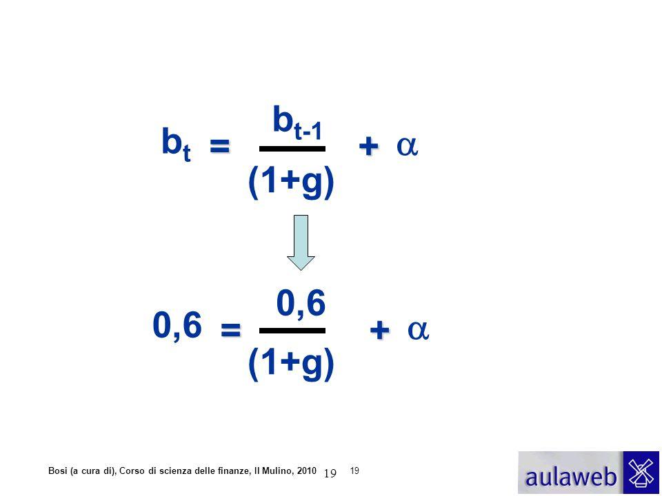 Bosi (a cura di), Corso di scienza delle finanze, Il Mulino, 201019 =+  b t b t-1 (1+g) =+  0,6 (1+g) 19