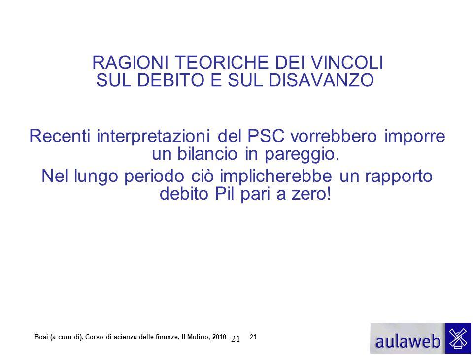 Bosi (a cura di), Corso di scienza delle finanze, Il Mulino, 201021 Recenti interpretazioni del PSC vorrebbero imporre un bilancio in pareggio. Nel lu