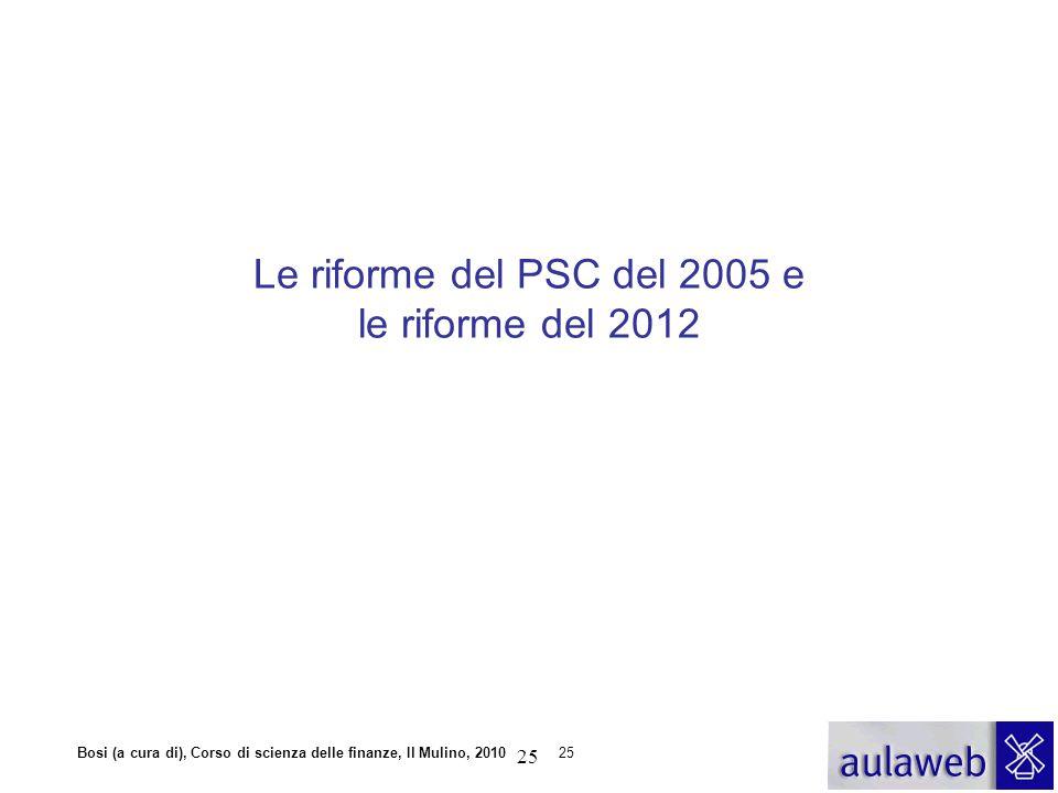 Bosi (a cura di), Corso di scienza delle finanze, Il Mulino, 201025 Le riforme del PSC del 2005 e le riforme del 2012 25