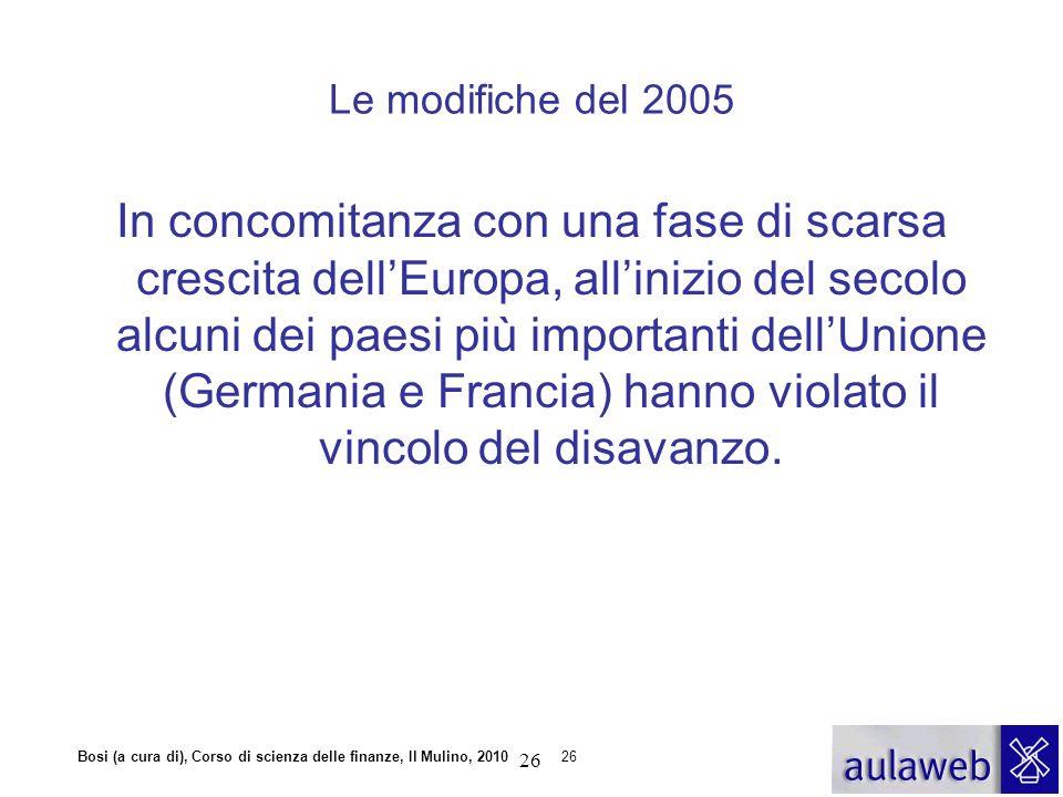 Bosi (a cura di), Corso di scienza delle finanze, Il Mulino, 201026 Le modifiche del 2005 In concomitanza con una fase di scarsa crescita dell'Europa,