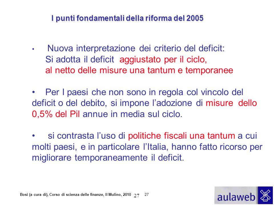 Bosi (a cura di), Corso di scienza delle finanze, Il Mulino, 201027 Nuova interpretazione dei criterio del deficit: Si adotta il deficit aggiustato pe