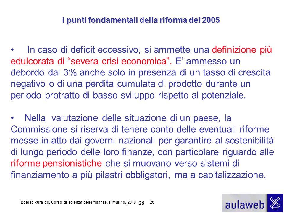 """Bosi (a cura di), Corso di scienza delle finanze, Il Mulino, 201028 In caso di deficit eccessivo, si ammette una definizione più edulcorata di """"severa"""
