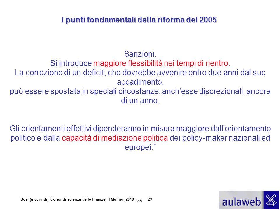 Bosi (a cura di), Corso di scienza delle finanze, Il Mulino, 201029 Sanzioni. Si introduce maggiore flessibilità nei tempi di rientro. La correzione d