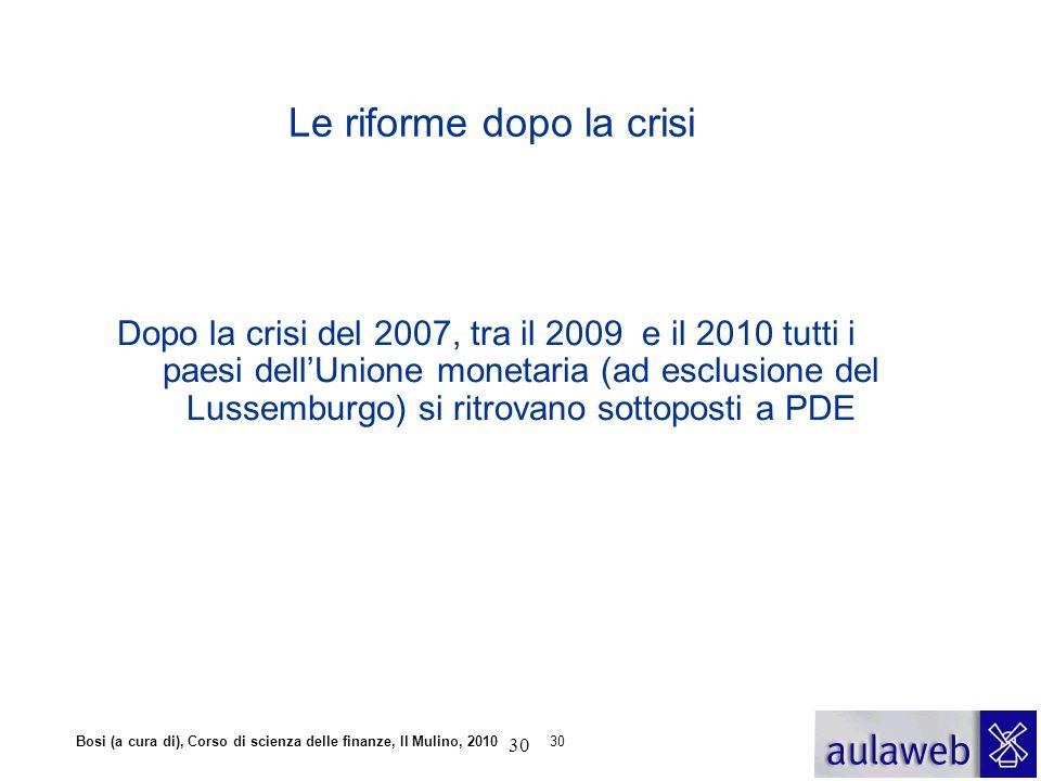Bosi (a cura di), Corso di scienza delle finanze, Il Mulino, 201030 Le riforme dopo la crisi Dopo la crisi del 2007, tra il 2009 e il 2010 tutti i pae
