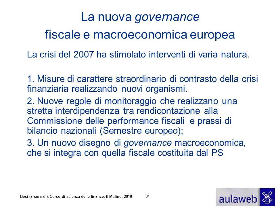 Bosi (a cura di), Corso di scienza delle finanze, Il Mulino, 201031 La nuova governance fiscale e macroeconomica europea La crisi del 2007 ha stimolat