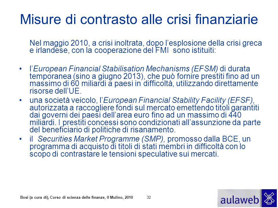 Bosi (a cura di), Corso di scienza delle finanze, Il Mulino, 201032 Misure di contrasto alle crisi finanziarie Nel maggio 2010, a crisi inoltrata, dop