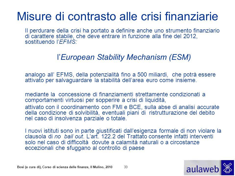 Bosi (a cura di), Corso di scienza delle finanze, Il Mulino, 201033 Misure di contrasto alle crisi finanziarie Il perdurare della crisi ha portato a d