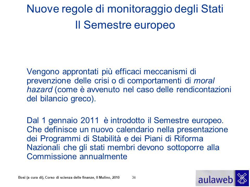 Bosi (a cura di), Corso di scienza delle finanze, Il Mulino, 201034 Nuove regole di monitoraggio degli Stati Il Semestre europeo Vengono approntati pi