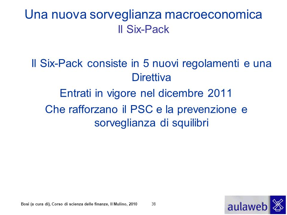 Bosi (a cura di), Corso di scienza delle finanze, Il Mulino, 201038 Una nuova sorveglianza macroeconomica Il Six-Pack Il Six-Pack consiste in 5 nuovi