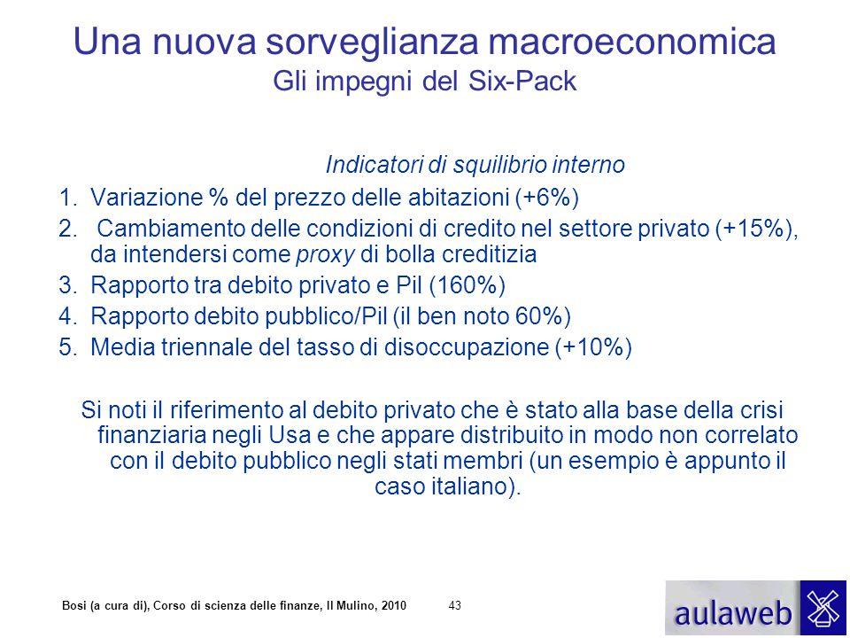 Bosi (a cura di), Corso di scienza delle finanze, Il Mulino, 201043 Indicatori di squilibrio interno 1.Variazione % del prezzo delle abitazioni (+6%)