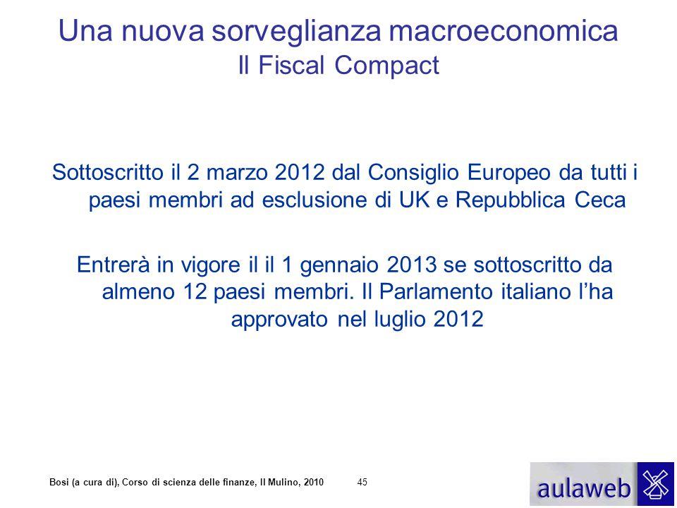 Bosi (a cura di), Corso di scienza delle finanze, Il Mulino, 201045 Sottoscritto il 2 marzo 2012 dal Consiglio Europeo da tutti i paesi membri ad escl