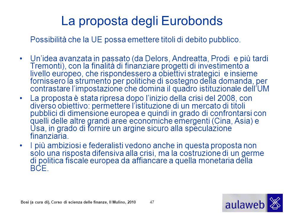 Bosi (a cura di), Corso di scienza delle finanze, Il Mulino, 201047 La proposta degli Eurobonds Possibilità che la UE possa emettere titoli di debito