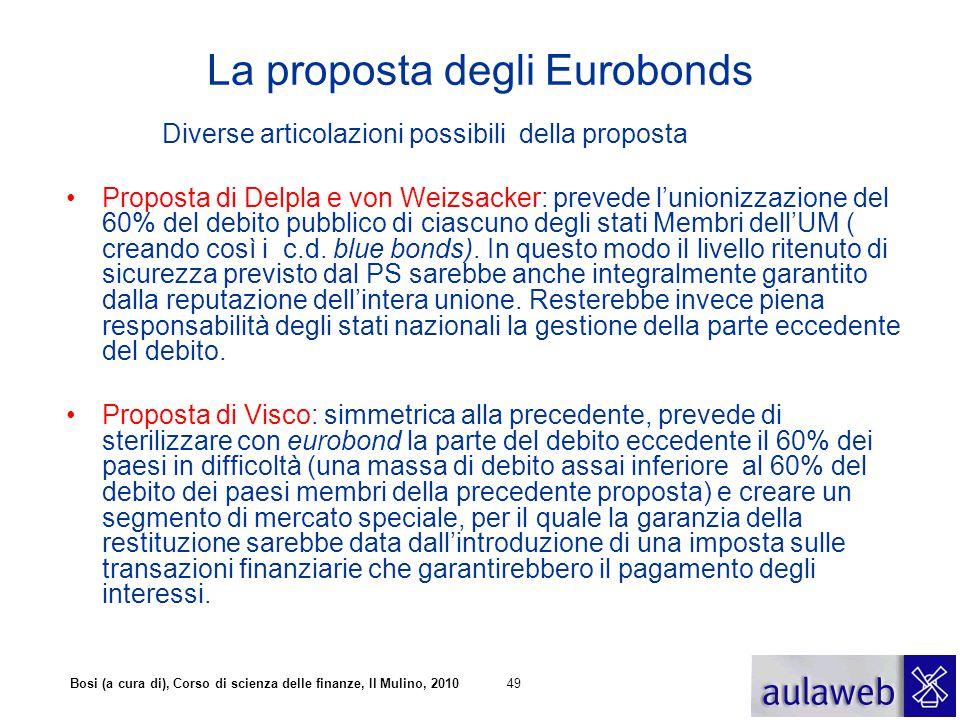 Bosi (a cura di), Corso di scienza delle finanze, Il Mulino, 201049 La proposta degli Eurobonds Diverse articolazioni possibili della proposta Propost