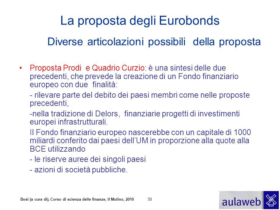 Bosi (a cura di), Corso di scienza delle finanze, Il Mulino, 201050 La proposta degli Eurobonds Diverse articolazioni possibili della proposta Propost