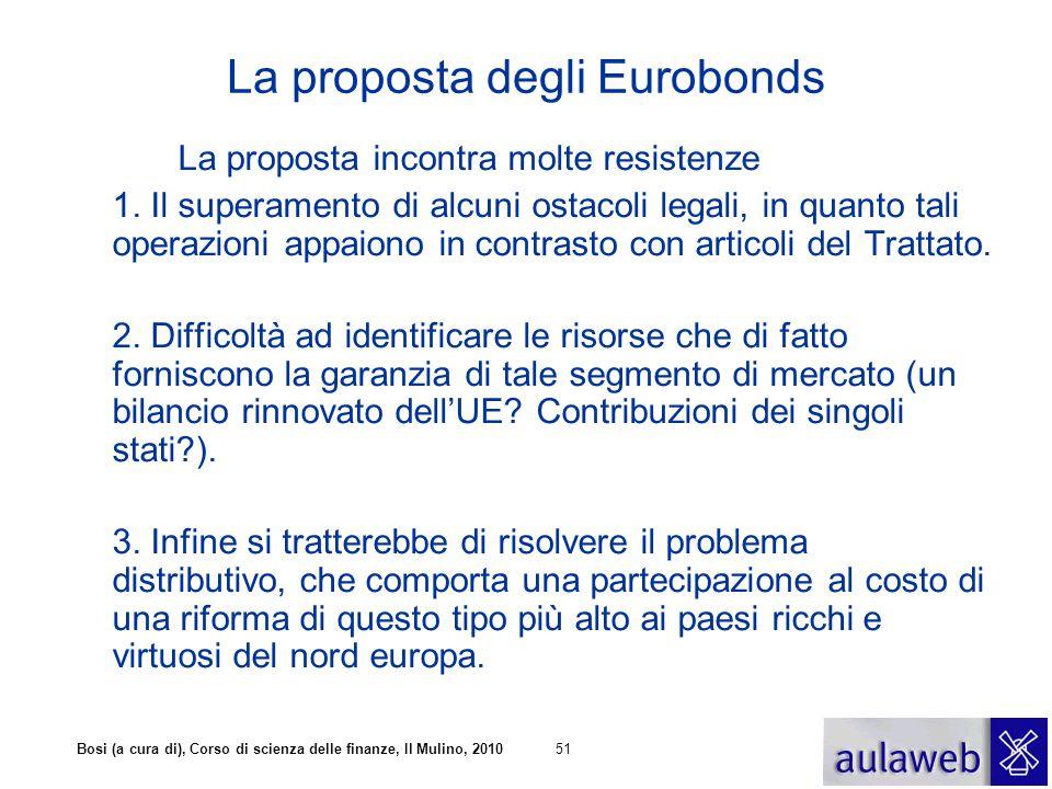 Bosi (a cura di), Corso di scienza delle finanze, Il Mulino, 201051 La proposta degli Eurobonds La proposta incontra molte resistenze 1. Il superament