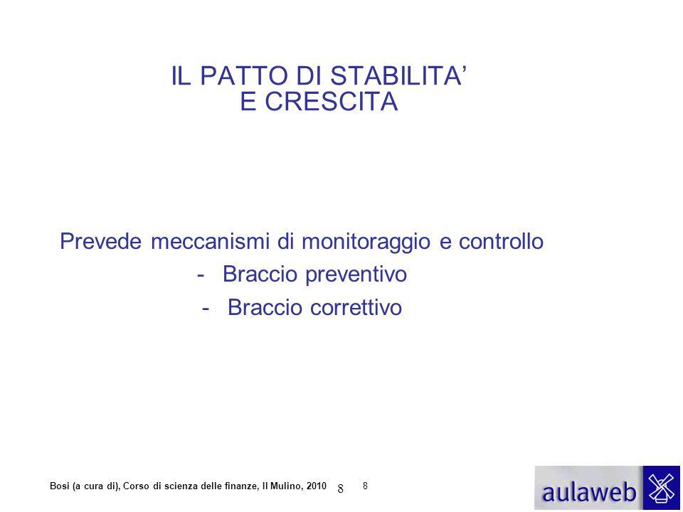 Bosi (a cura di), Corso di scienza delle finanze, Il Mulino, 20108 IL PATTO DI STABILITA' E CRESCITA Prevede meccanismi di monitoraggio e controllo -B