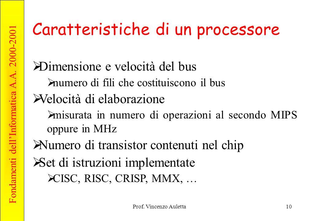 Fondamenti dell'Informatica A.A. 2000-2001 Prof. Vincenzo Auletta10 Caratteristiche di un processore  Dimensione e velocità del bus  numero di fili