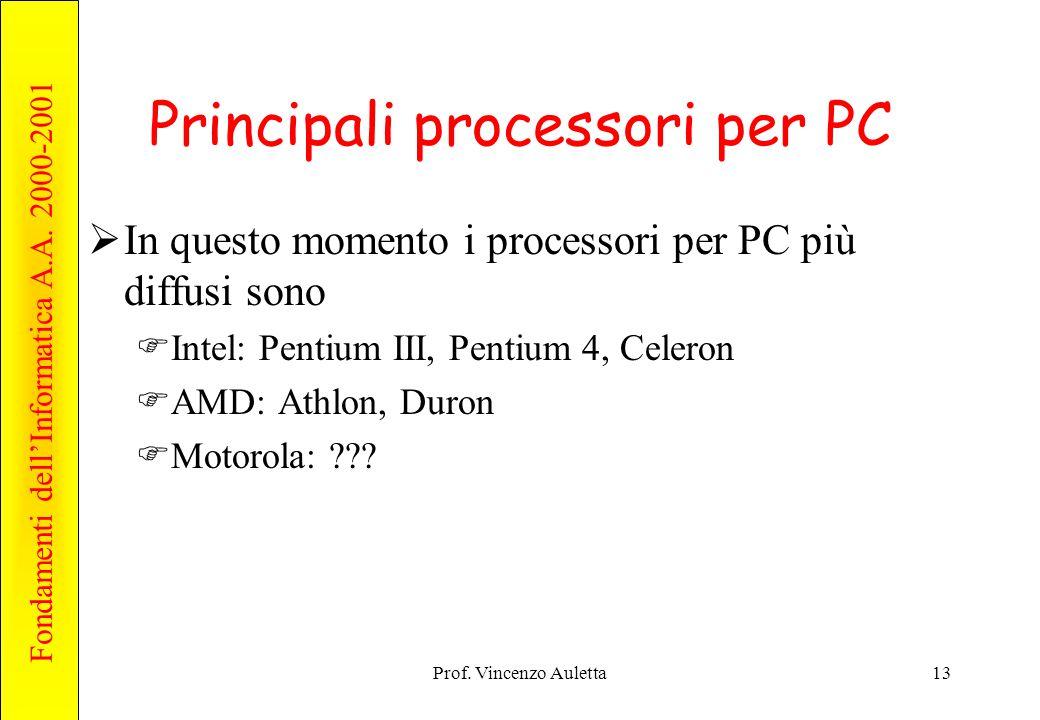 Fondamenti dell'Informatica A.A. 2000-2001 Prof. Vincenzo Auletta13 Principali processori per PC  In questo momento i processori per PC più diffusi s