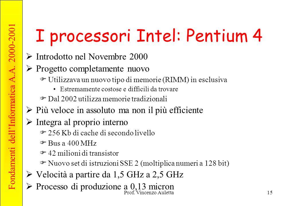 Fondamenti dell'Informatica A.A. 2000-2001 Prof. Vincenzo Auletta15 I processori Intel: Pentium 4  Introdotto nel Novembre 2000  Progetto completame