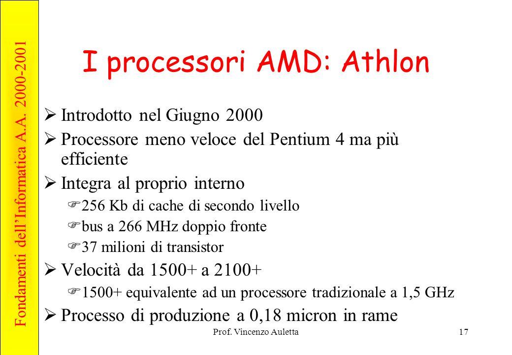 Fondamenti dell'Informatica A.A. 2000-2001 Prof. Vincenzo Auletta17 I processori AMD: Athlon  Introdotto nel Giugno 2000  Processore meno veloce del