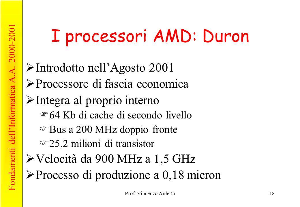 Fondamenti dell'Informatica A.A. 2000-2001 Prof. Vincenzo Auletta18 I processori AMD: Duron  Introdotto nell'Agosto 2001  Processore di fascia econo